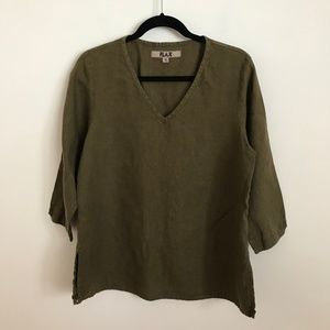 FLAX Tunic Top 100% Linen Olive Green S